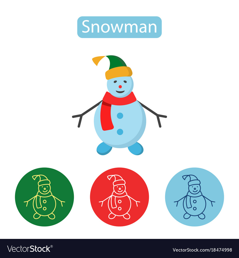 Happy snowman with hat and scarf
