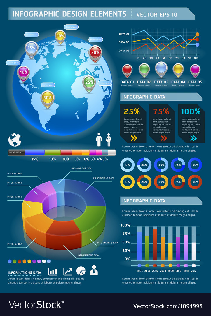 Infographic elements with global map