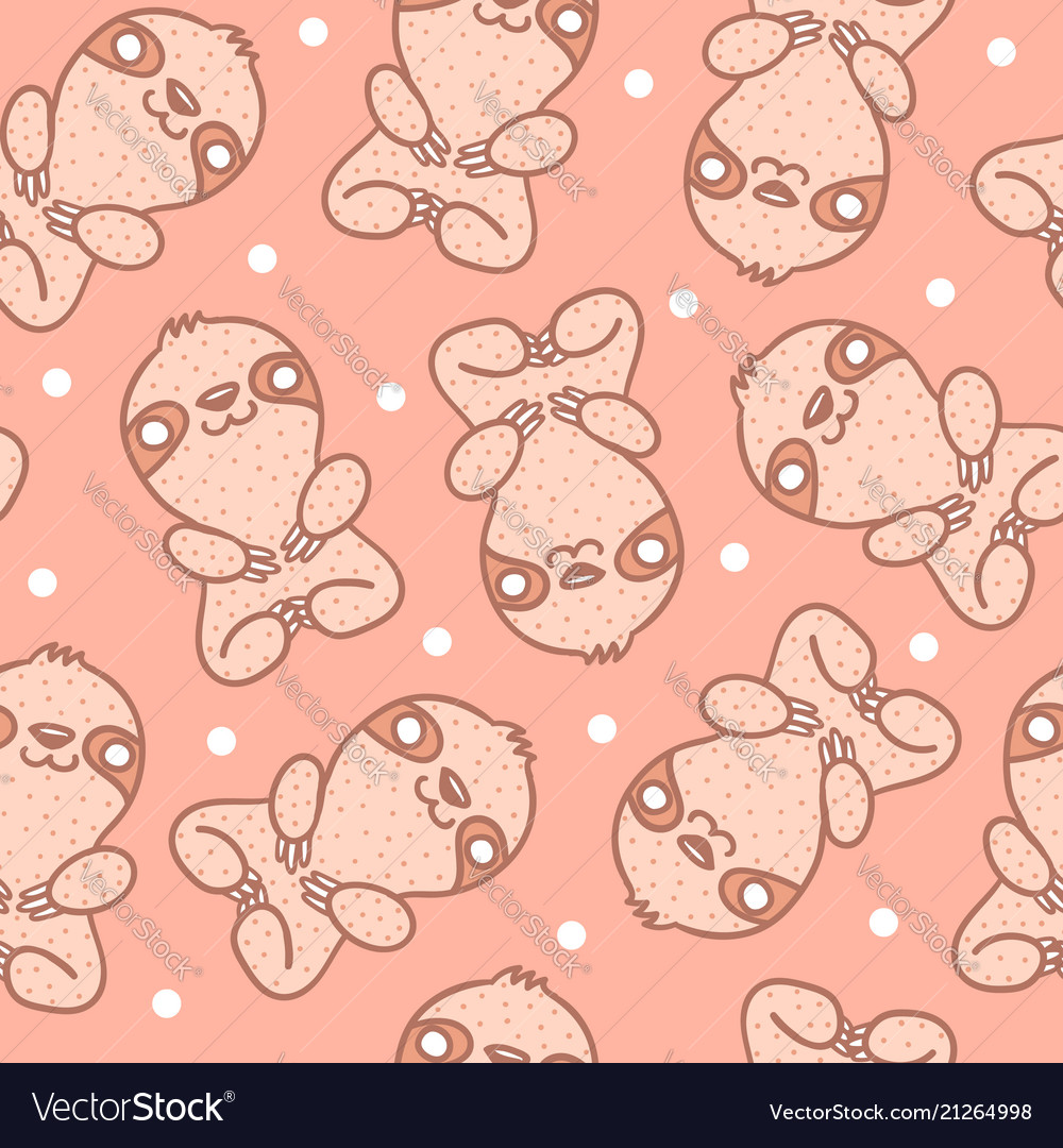 Pattern with sloth with dots