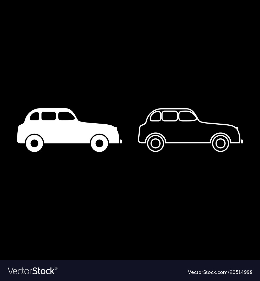 Retro car icon set white color flat style simple