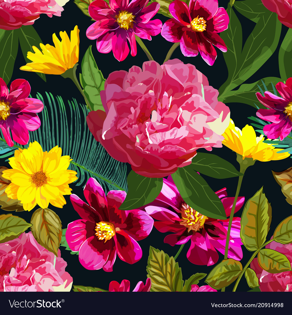 Seamless pattern with yellow chrysanthemums and