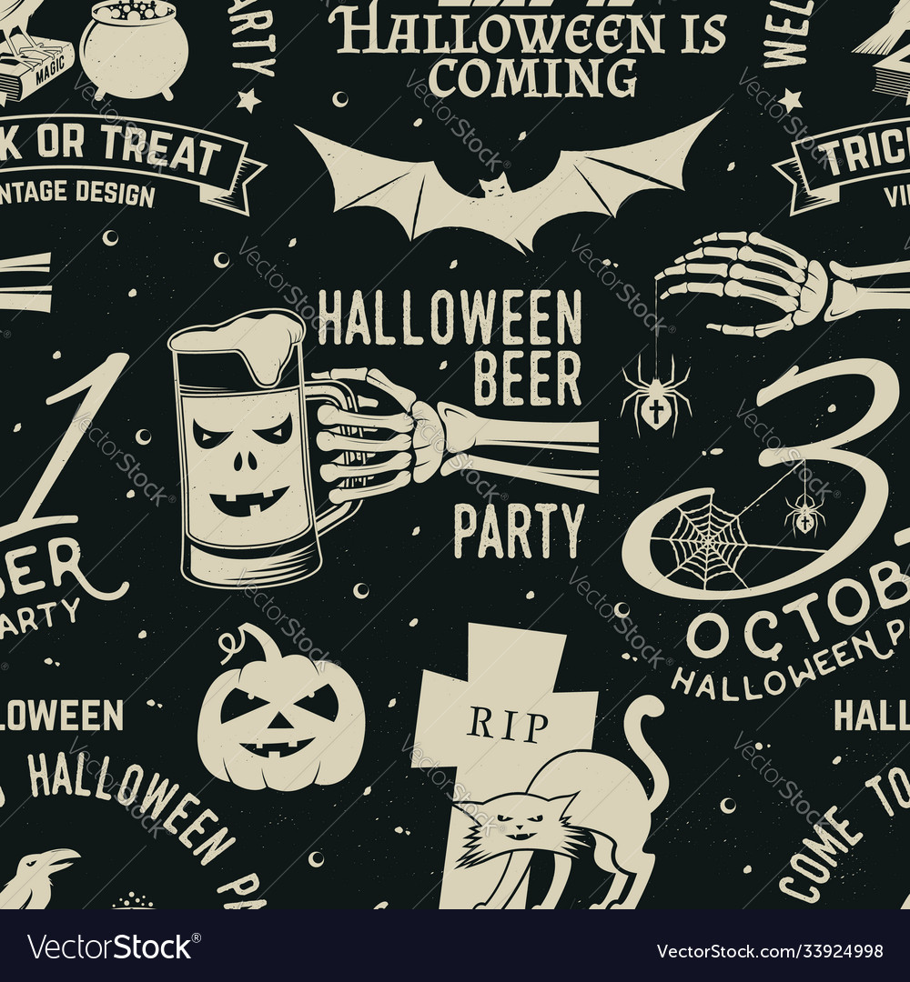 Set halloween celebration seamless pattern with