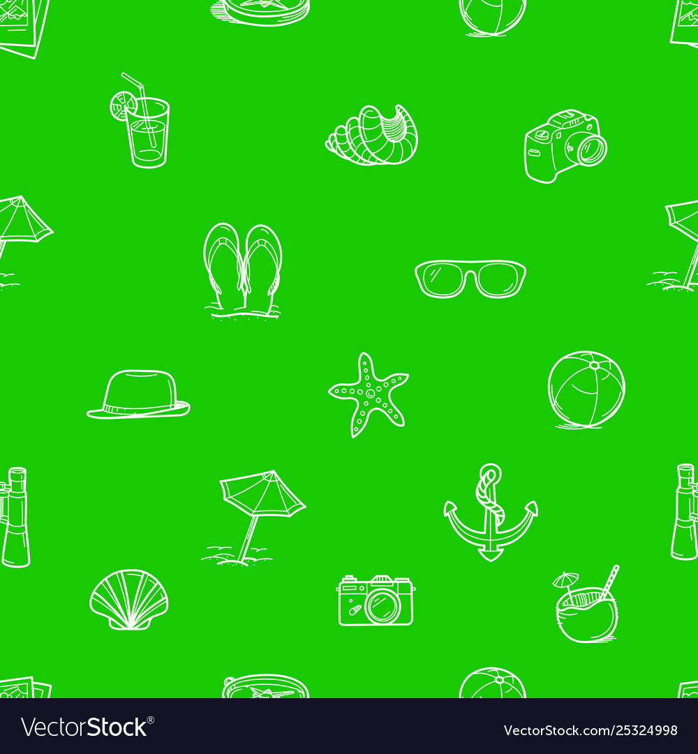 Summer travel doodle style elements green