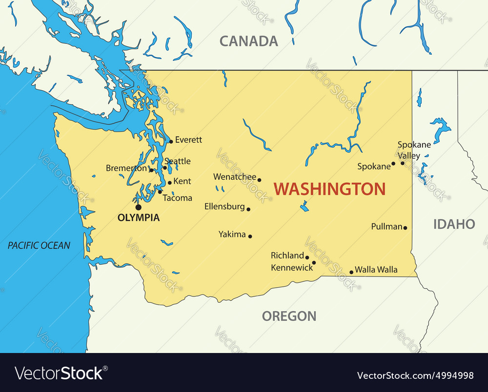 Washington State Map Royalty Free Vector Image
