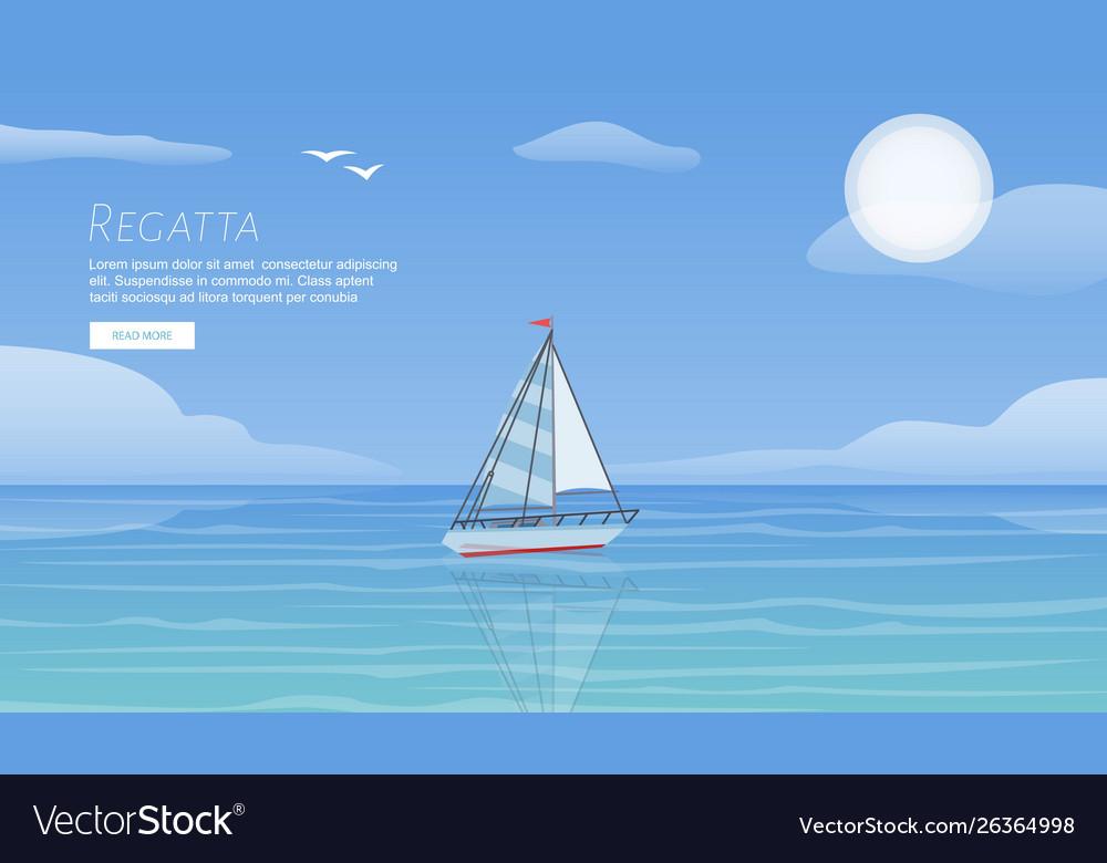 Yacht regatta on wave blue sea ocean