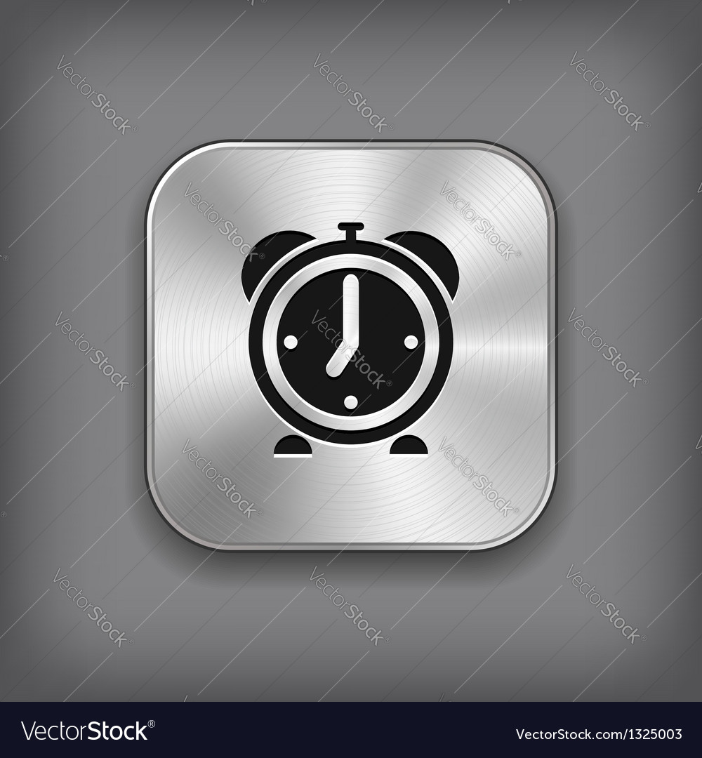 Alarm clock icon - metal app button