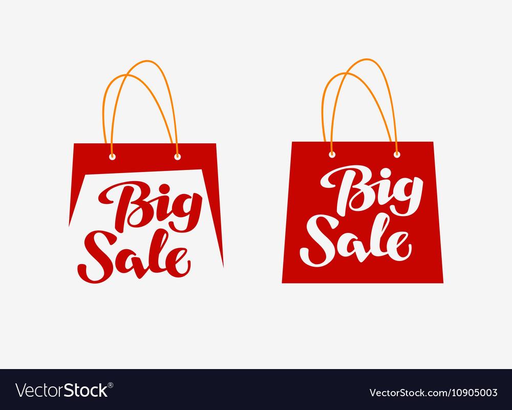 Big Sale logo Inscription written on shopping bag