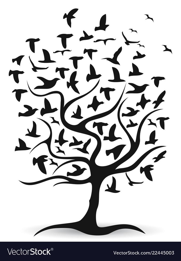 Black birds tree background