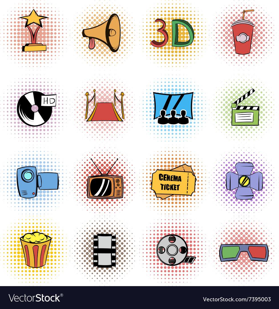 Cinema comics icons set vector image