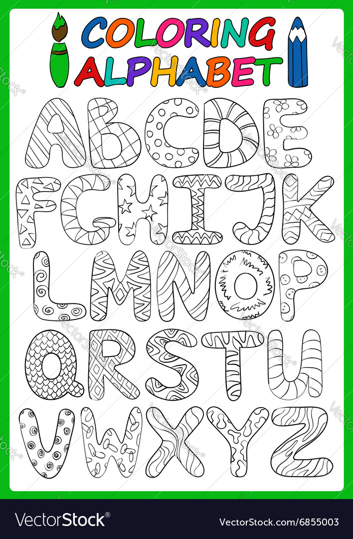 Coloring Children Alphabet With Cartoon Capital