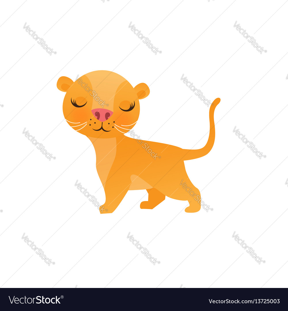 Cute lion cartoon on white background