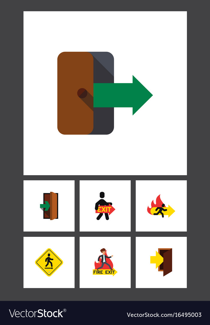 Flat icon emergency set of entry exit vector image