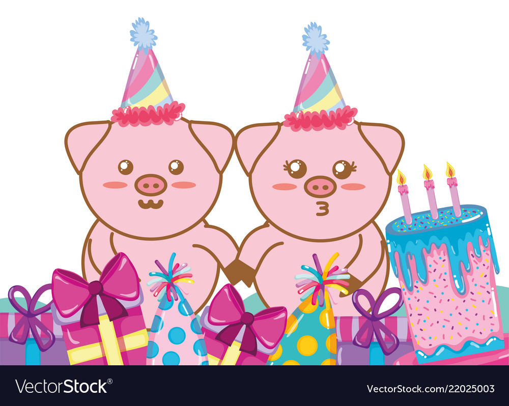Happy Birthday Pigs Cartoons Royalty Free Vector Image