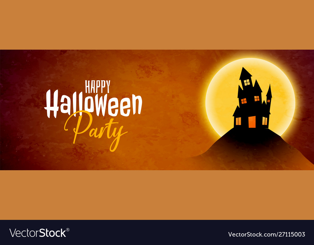 Haunted house happy halloween party banner design