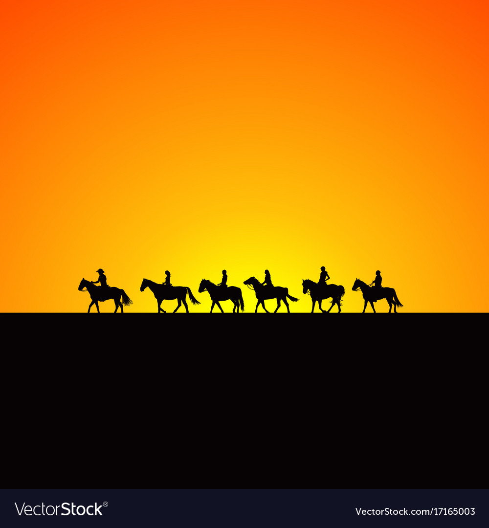 Horse riders silhouettes at sunrise vector image