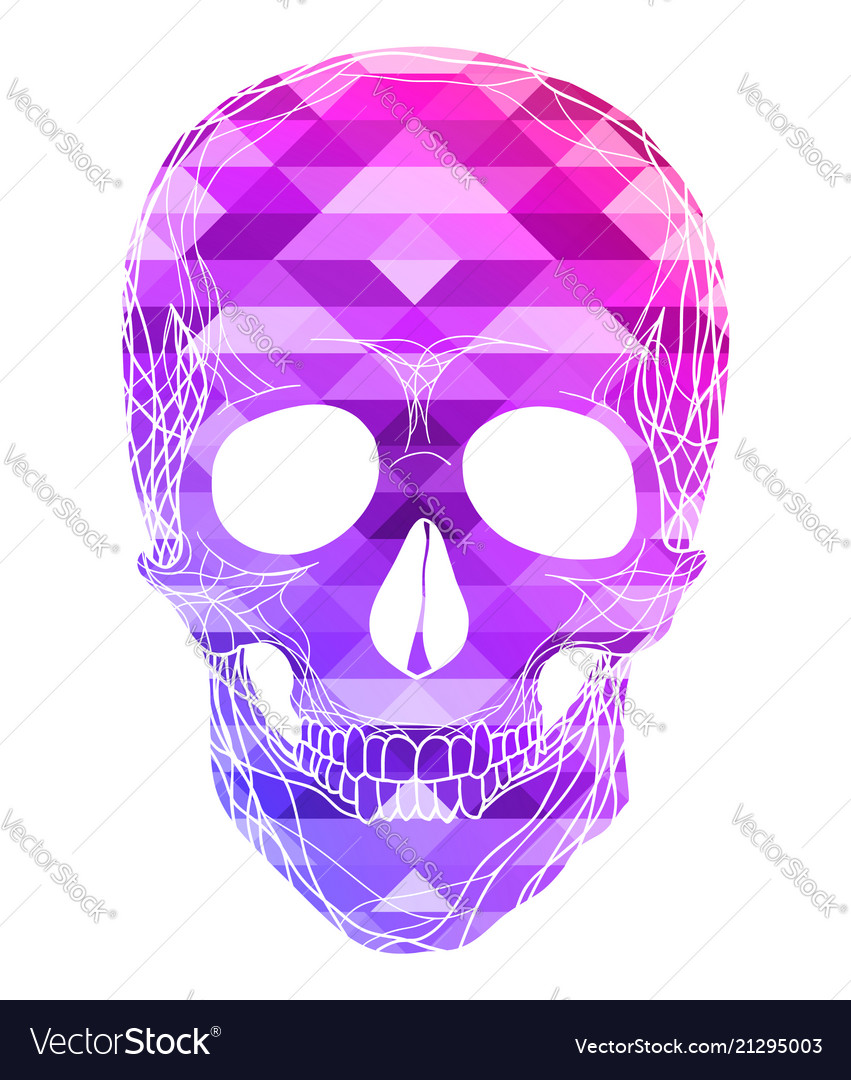 Human Skull With Polygonal Background Front View Vector Image