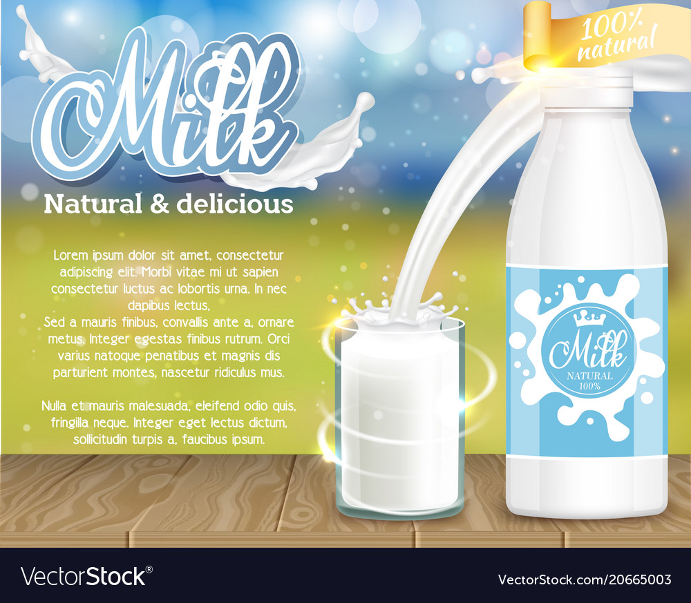 Milk natural and delicious dairy product ad