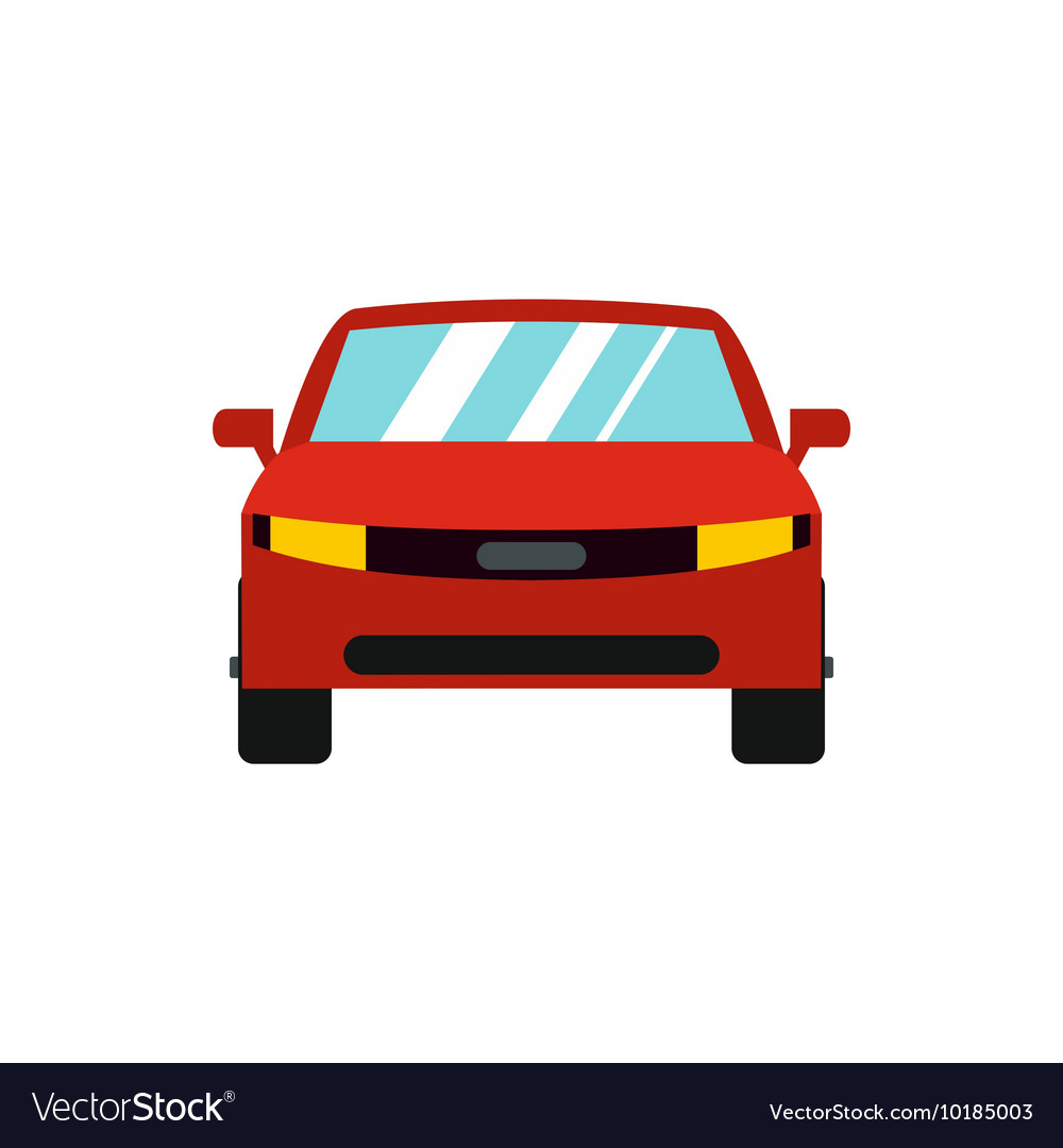 Red car icon flat style