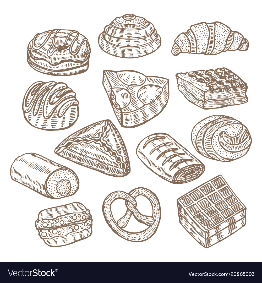 Set of cakes and pastries in hand drawn doodle vector image