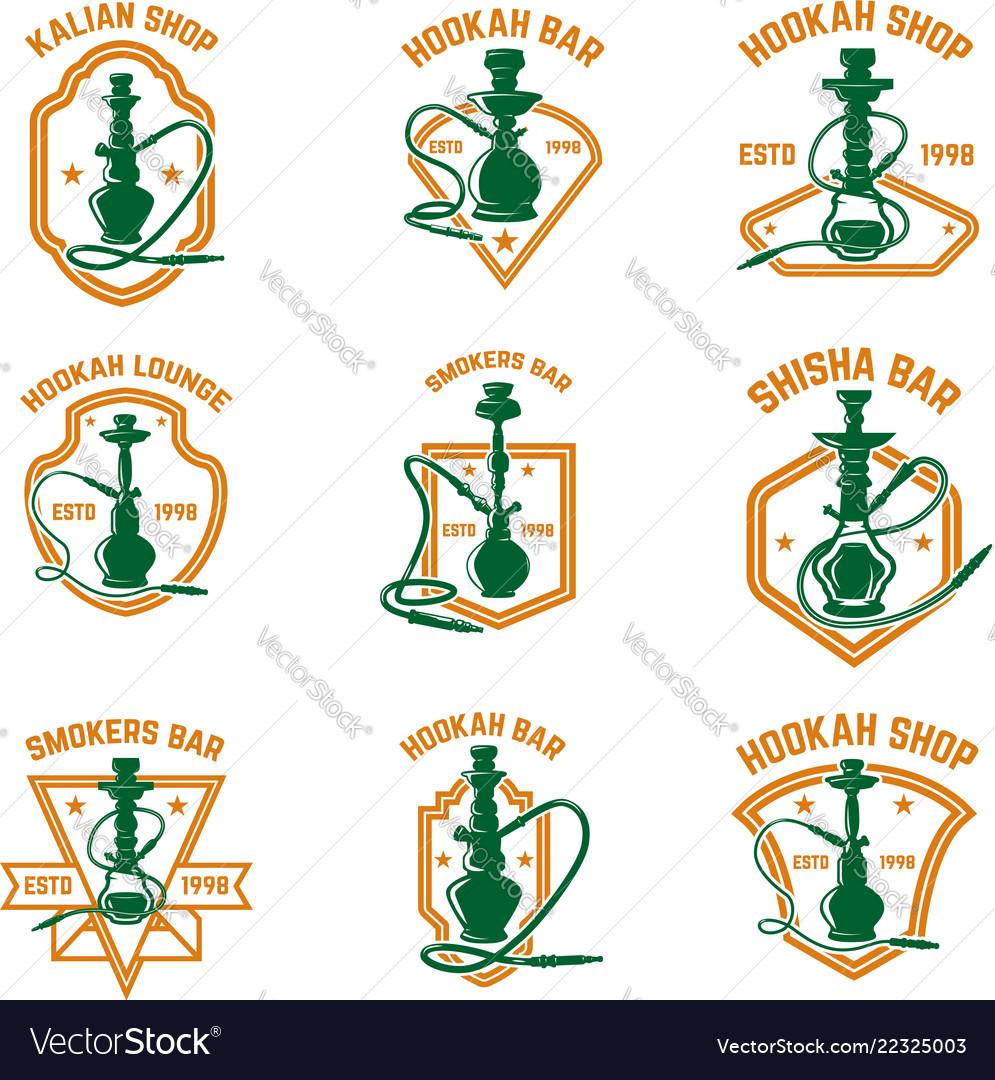 Set of hookah labels design element for logo