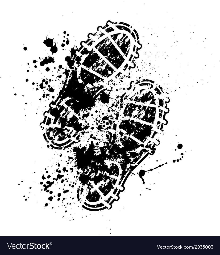 Shoes print ink blots vector image