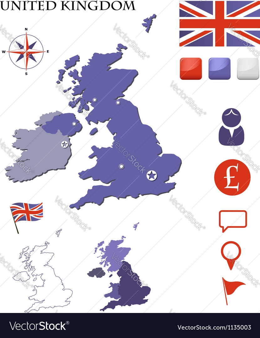 United Kingdom map and icons set