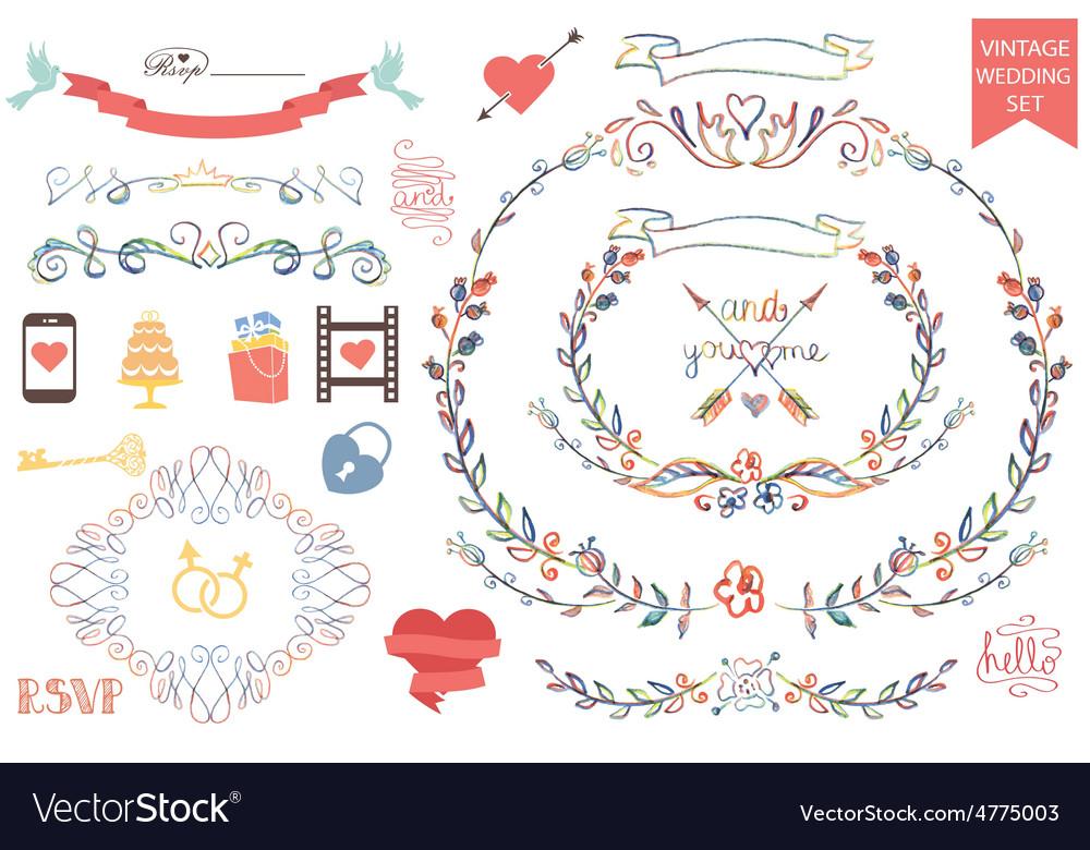 Vintage wedding Floral doodle Decoricons set