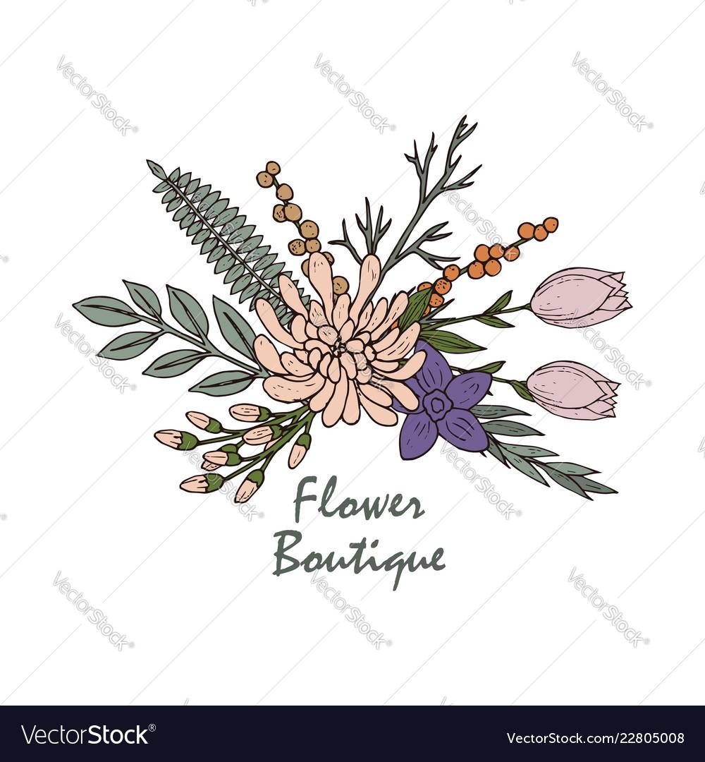 Beautiful flower boutique logo emblem