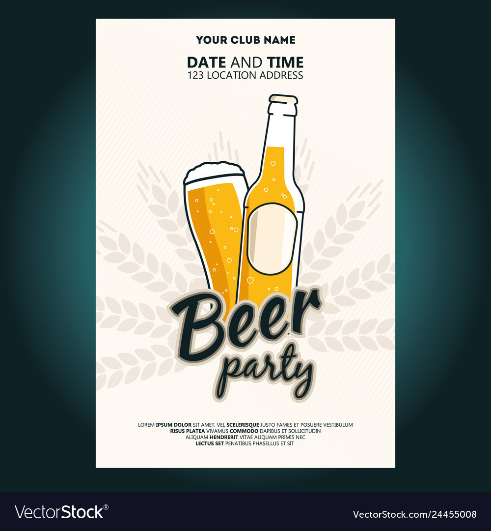 Beer bottle and glass of beer beer party poster