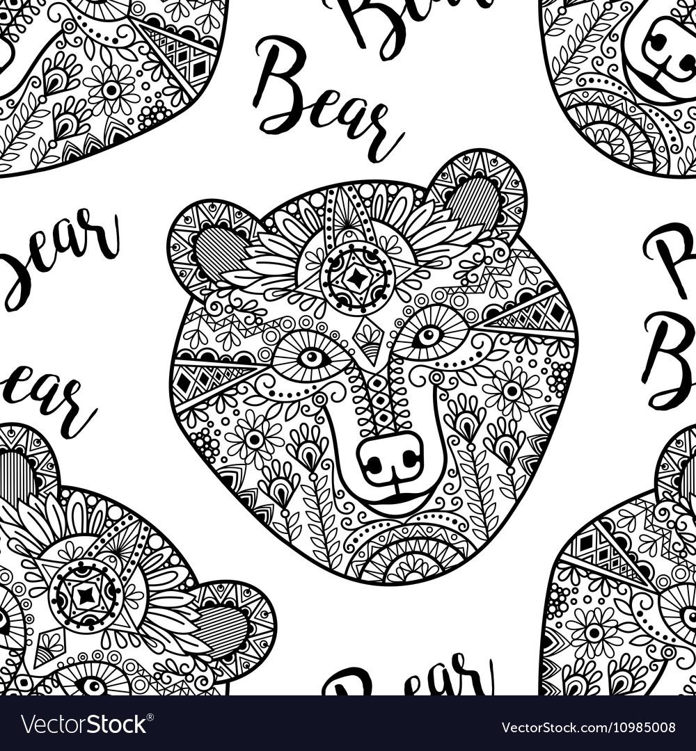Black doodle bear face seamless pattern