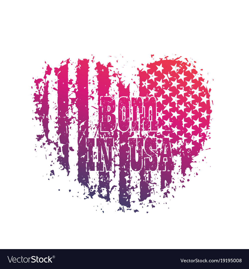 Born in usa heart with american flag patriotic vector image