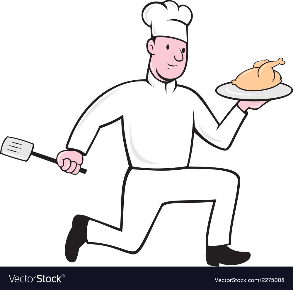Chef With Chicken Spatula Running Cartoon