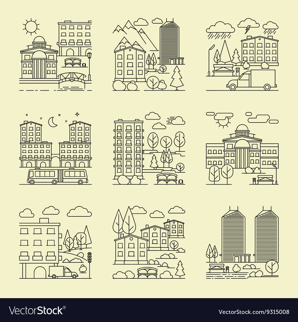 City linear style landscapes vector image