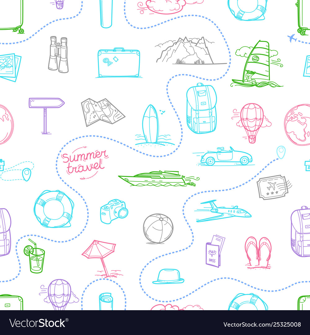 Hand drawn travel doodles seamless background