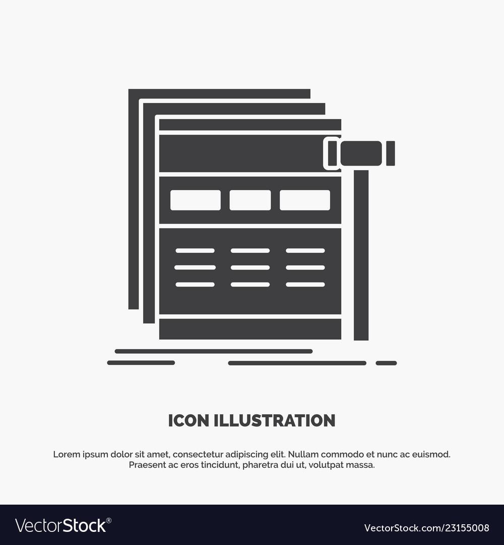 Internet page web webpage wireframe icon glyph