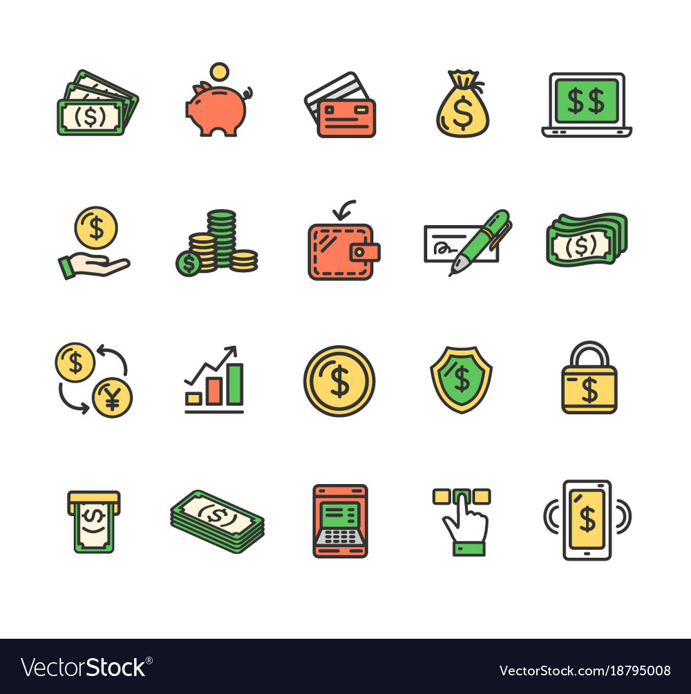Money finance symbols and signs color thin line