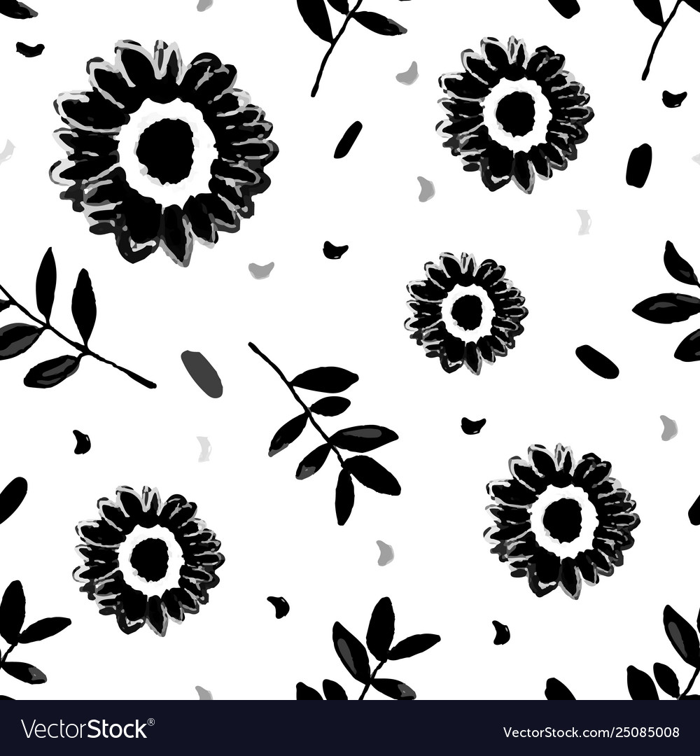Seamless repeating pattern with hand painted black
