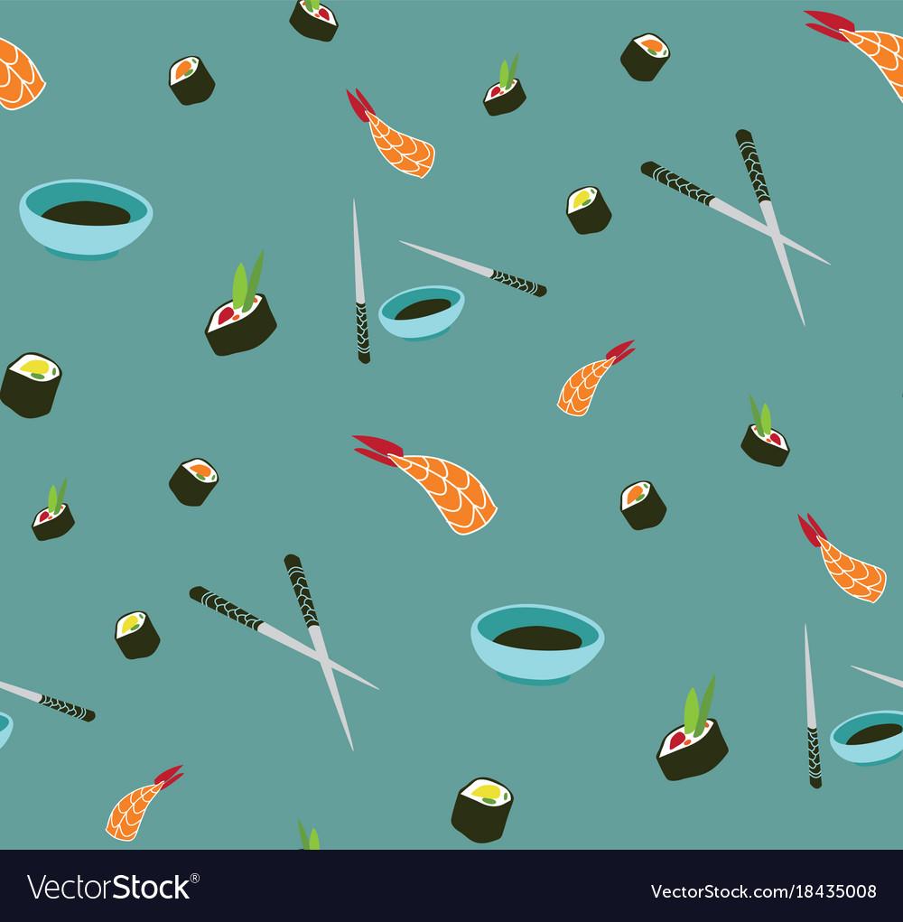 Seamless sushi pattern asian food vector image