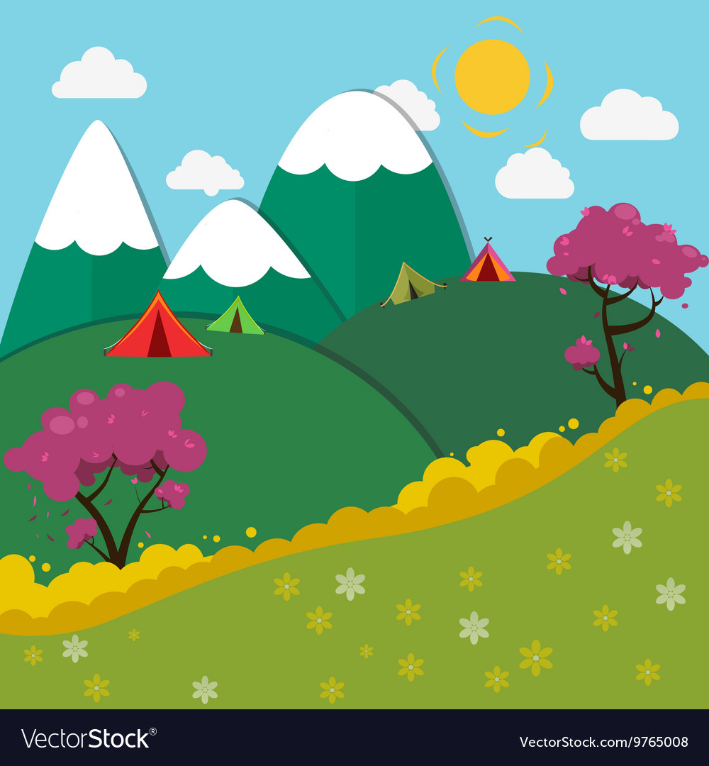 Summer Mountain Camping Landscape