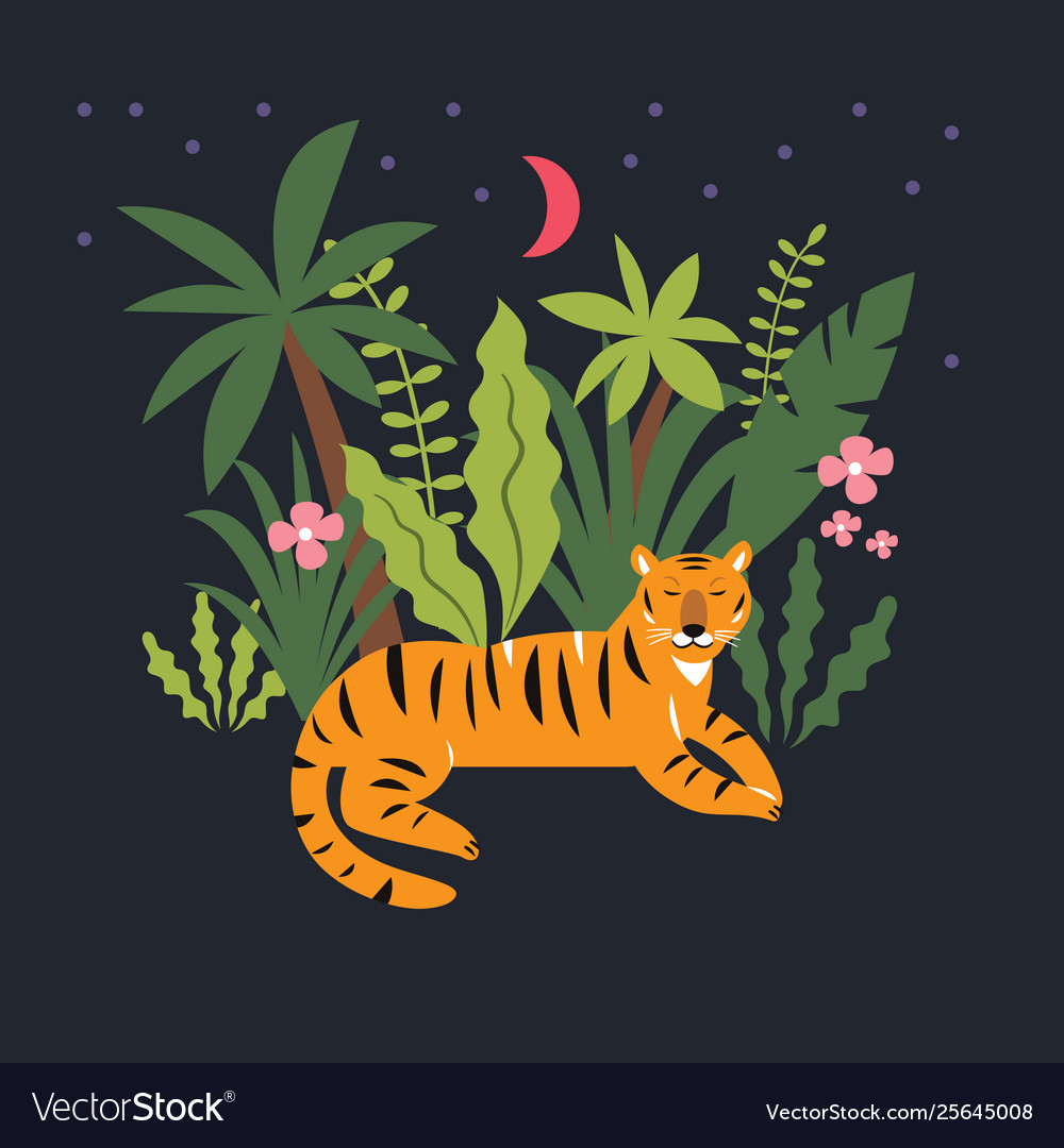 Tiger in jungle among palm leaves
