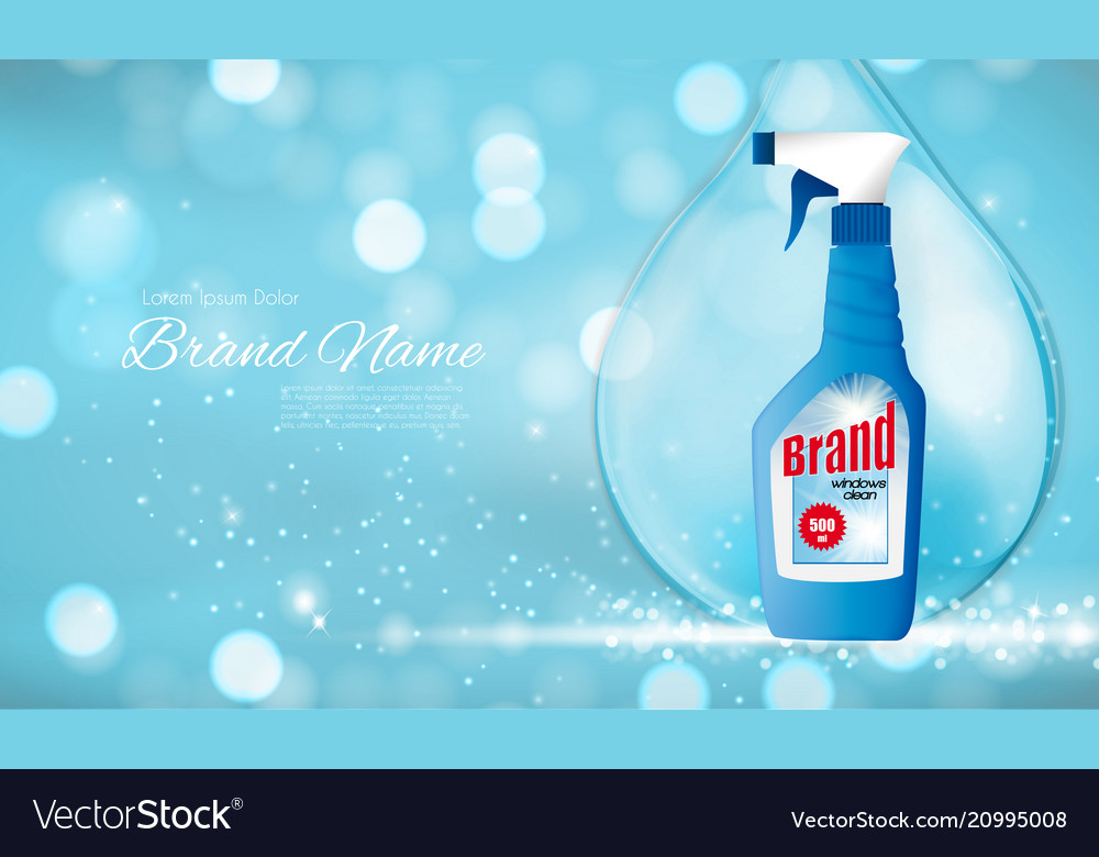 Window clean bottle template for ads or magazine