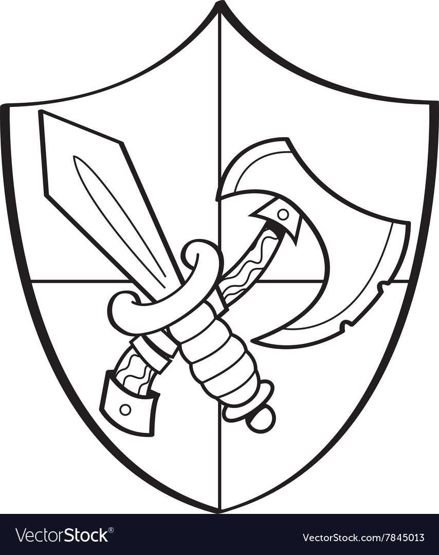 Cartoon sword and axe on a shield