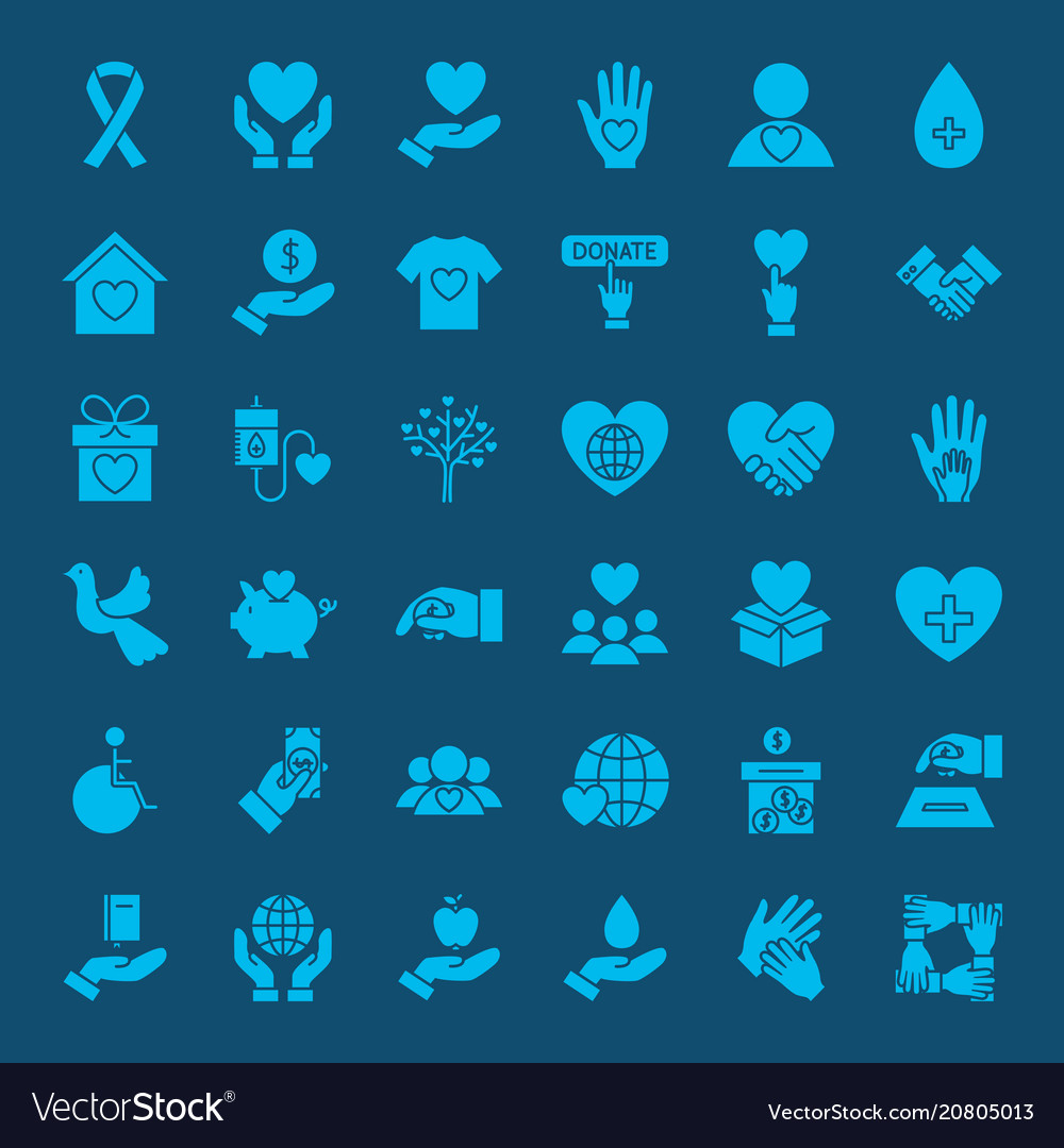 Charity solid web icons vector image