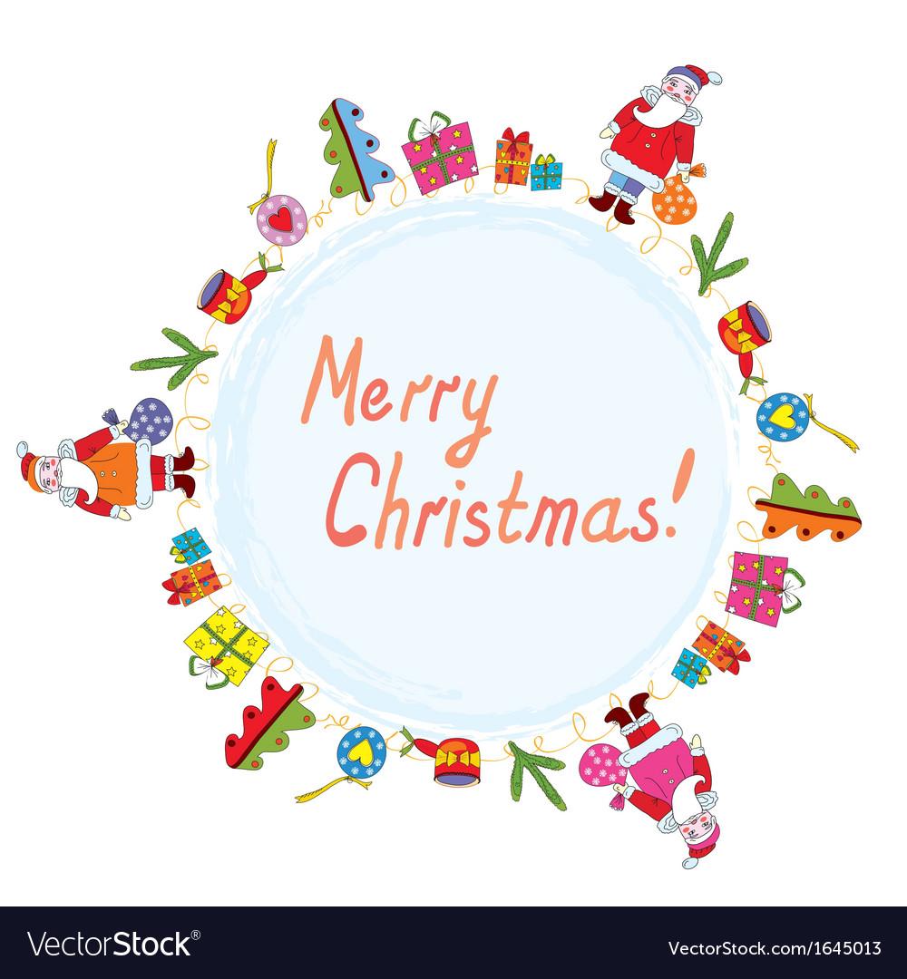 Christmas card with santa tree and presents