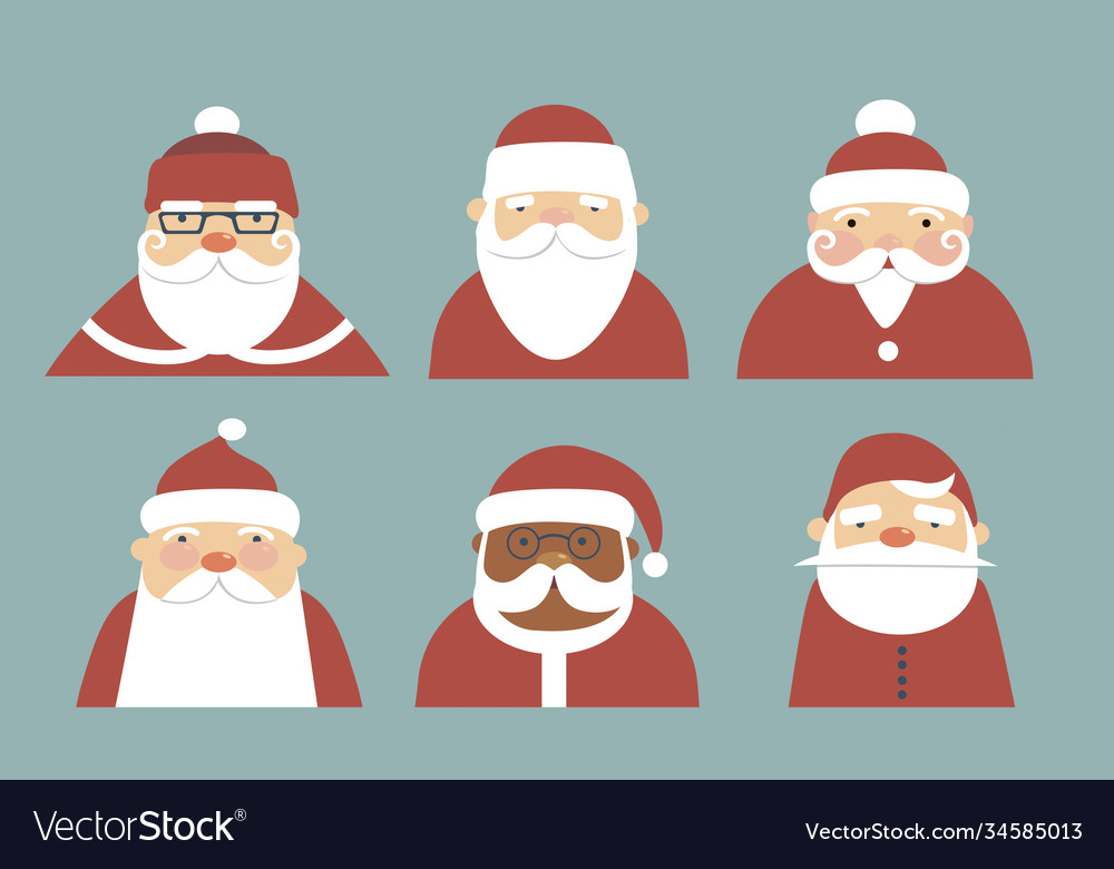 Collection various santa claus characters