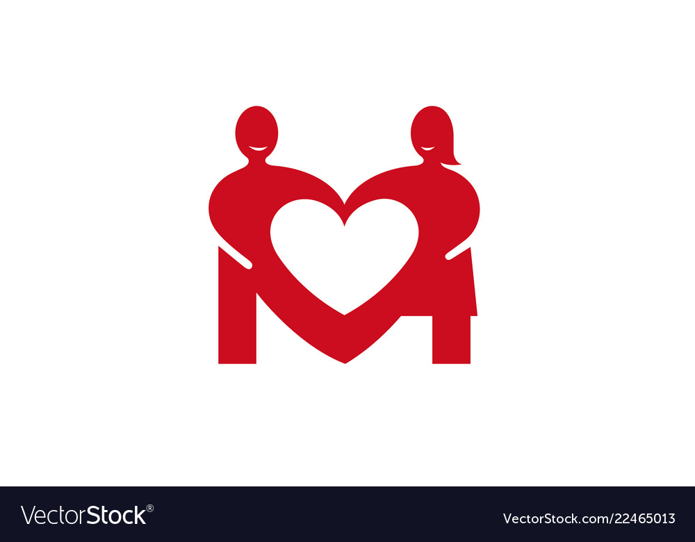 Creative two lovers couple negative heart logo