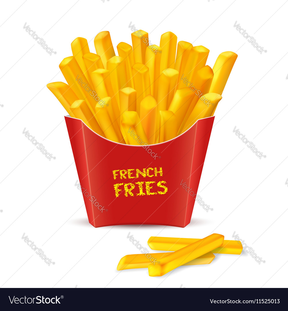 French Fries in red paper box vector image
