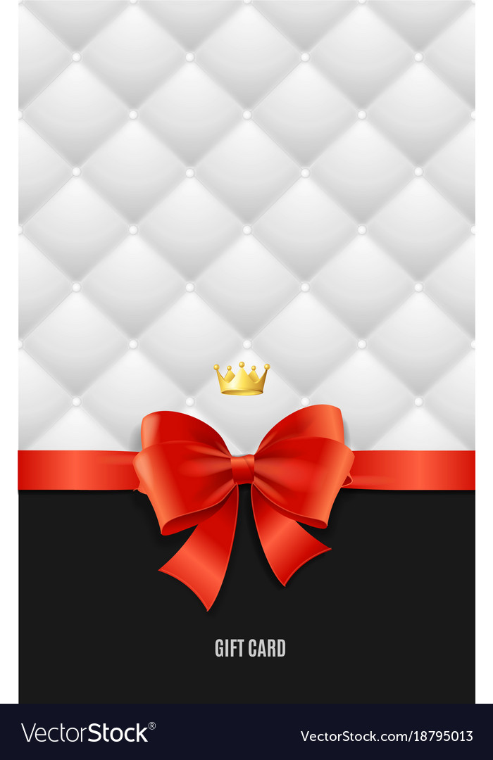 Gift card template silk ribbon bow and quilted