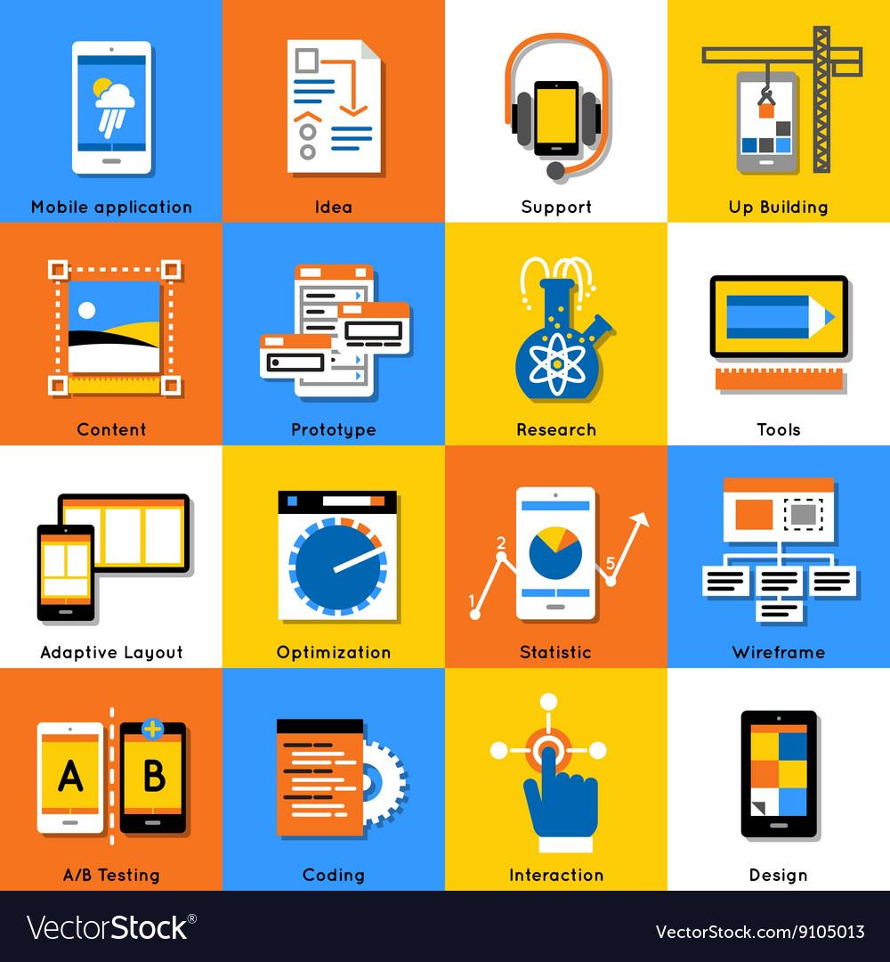 Mobile Application Flat Icon Set