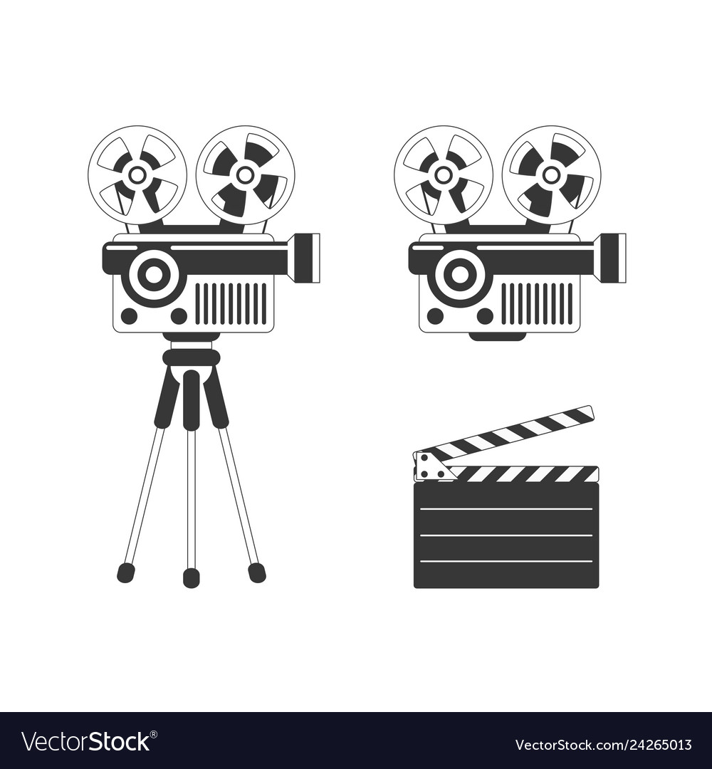 Movie projector and clapper board